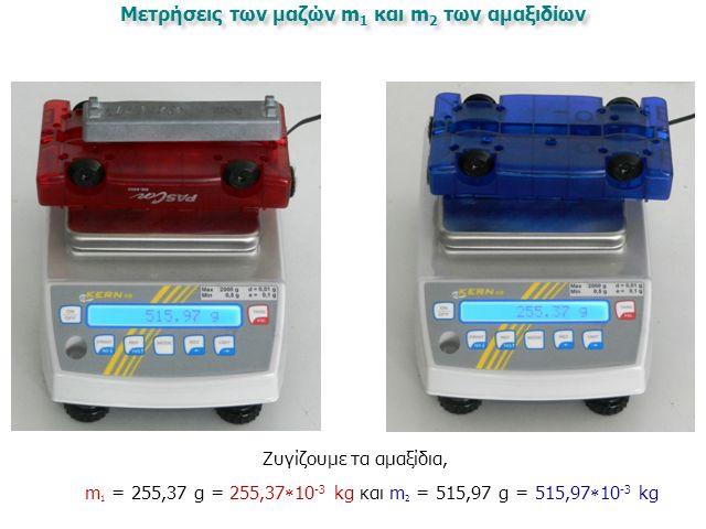 Μετρήσεις των μαζών m 1 και m 2 των αμαξιδίων Ζυγίζουμε τα αμαξίδια, m 1 = 255,37 g = 255,37  10 -3 kg και m 2 = 515,97 g = 515,97  10 -3 kg