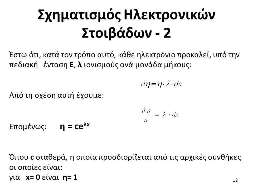 Σχηματισμός Ηλεκτρονικών Στοιβάδων - 2 Έστω ότι, κατά τον τρόπο αυτό, κάθε ηλεκτρόνιο προκαλεί, υπό την πεδιακή ένταση Ε, λ ιονισμούς ανά μονάδα μήκους: Από τη σχέση αυτή έχουμε: Επομένως: η = ce λx Όπου c σταθερά, η οποία προσδιορίζεται από τις αρχικές συνθήκες οι οποίες είναι: για x= 0 είναι η= 1 12