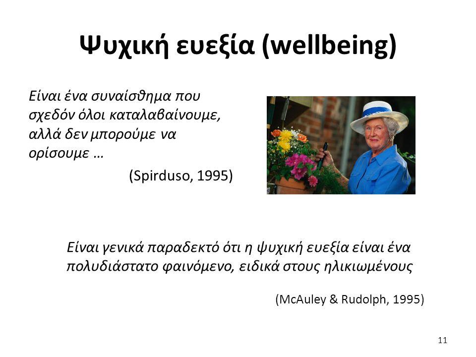 Ψυχική ευεξία (wellbeing) Είναι ένα συναίσθημα που σχεδόν όλοι καταλαβαίνουμε, αλλά δεν μπορούμε να ορίσουμε … (Spirduso, 1995) 11 Είναι γενικά παραδεκτό ότι η ψυχική ευεξία είναι ένα πολυδιάστατο φαινόμενο, ειδικά στους ηλικιωμένους (McAuley & Rudolph, 1995)
