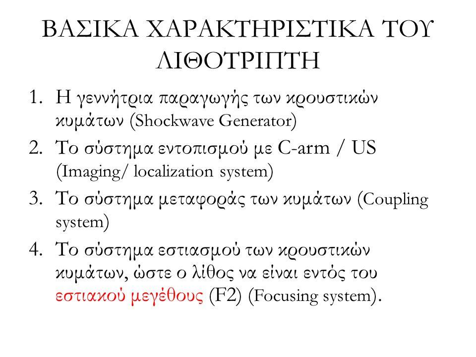 ΒΑΣΙΚΑ ΧΑΡΑΚΤΗΡΙΣΤΙΚΑ ΤΟΥ ΛΙΘΟΤΡΙΠΤΗ 1.Η γεννήτρια παραγωγής των κρουστικών κυμάτων ( Shockwave Generator ) 2.Το σύστημα εντοπισμού με C-arm / US ( Imaging/ localization system ) 3.Το σύστημα μεταφοράς των κυμάτων ( Coupling system ) 4.Το σύστημα εστιασμού των κρουστικών κυμάτων, ώστε ο λίθος να είναι εντός του εστιακού μεγέθους (F2) ( Focusing system ).