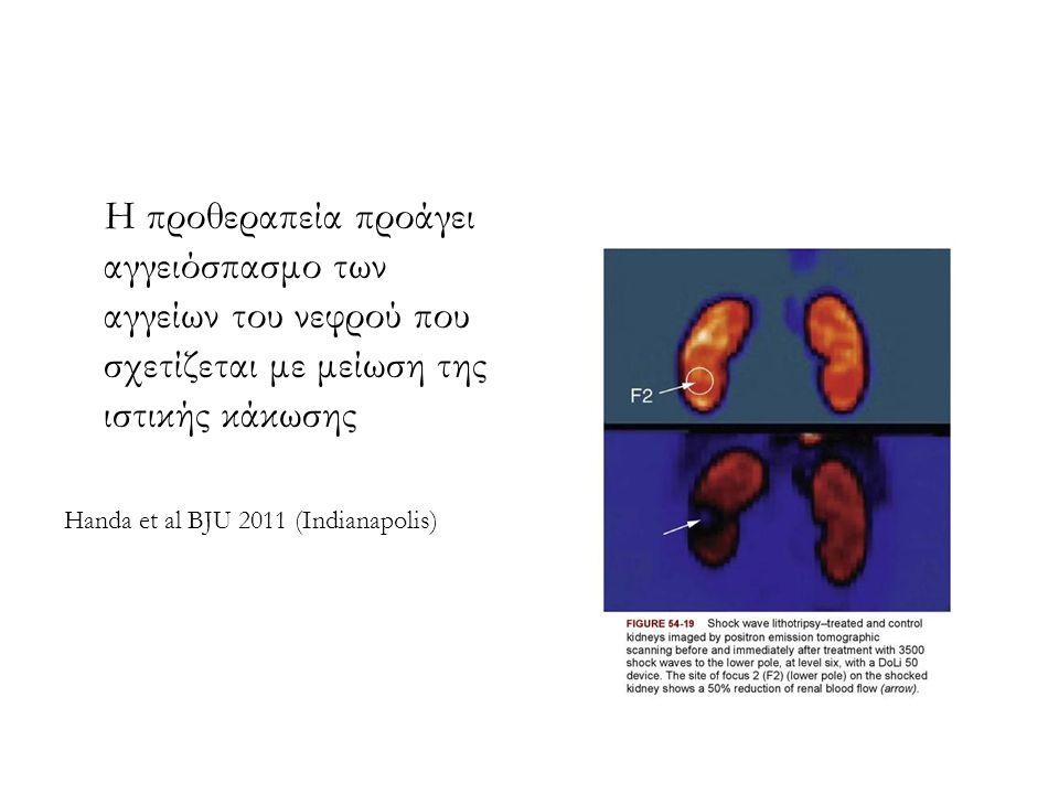 Η προθεραπεία προάγει αγγειόσπασμο των αγγείων του νεφρού που σχετίζεται με μείωση της ιστικής κάκωσης Handa et al BJU 2011 (Indianapolis)