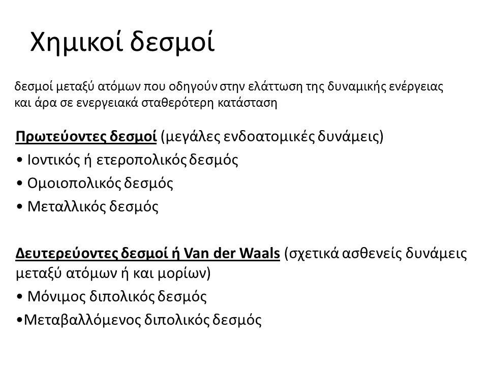 Χημικοί δεσμοί Πρωτεύοντες δεσμοί (μεγάλες ενδοατομικές δυνάμεις) Ιοντικός ή ετεροπολικός δεσμός Ομοιοπολικός δεσμός Μεταλλικός δεσμός Δευτερεύοντες δεσμοί ή Van der Waals (σχετικά ασθενείς δυνάμεις μεταξύ ατόμων ή και μορίων) Μόνιμος διπολικός δεσμός Μεταβαλλόμενος διπολικός δεσμός δεσμοί μεταξύ ατόμων που οδηγούν στην ελάττωση της δυναμικής ενέργειας και άρα σε ενεργειακά σταθερότερη κατάσταση