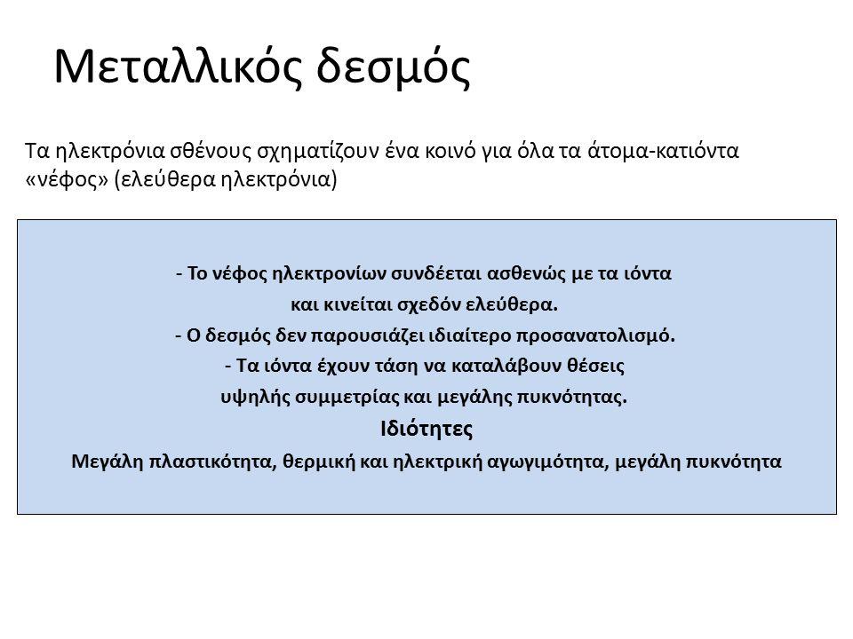 Μεταλλικός δεσμός - Το νέφος ηλεκτρονίων συνδέεται ασθενώς με τα ιόντα και κινείται σχεδόν ελεύθερα. - Ο δεσμός δεν παρουσιάζει ιδιαίτερο προσανατολισ