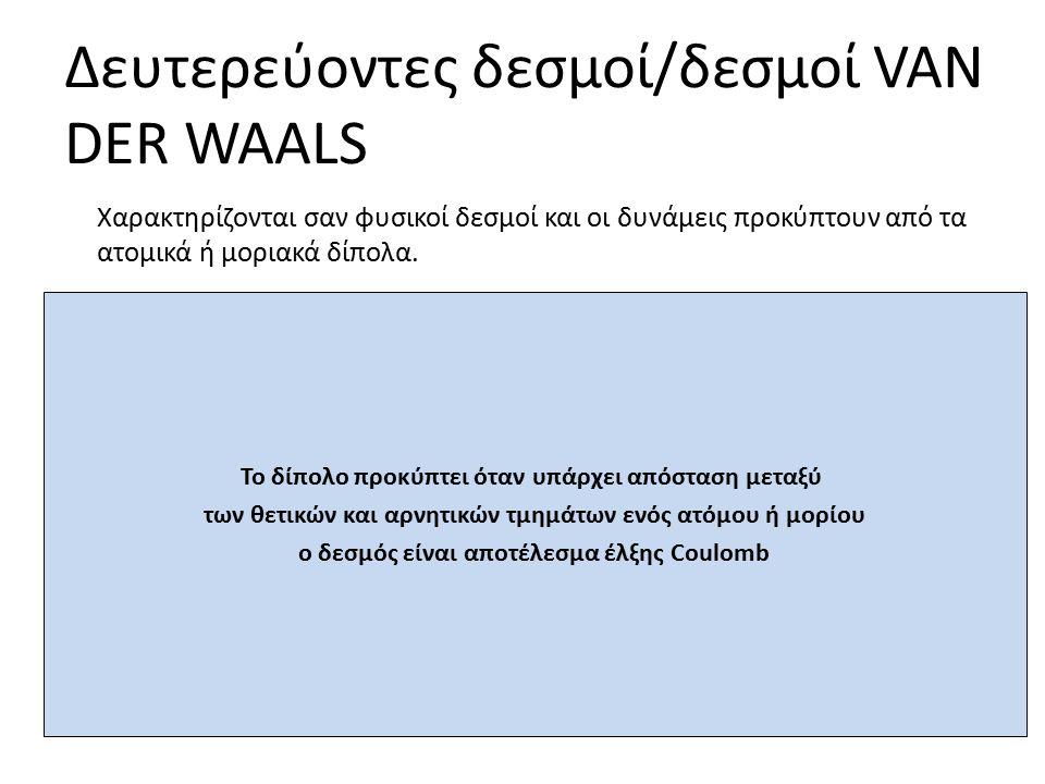 Δευτερεύοντες δεσμοί/δεσμοί VAN DER WAALS Το δίπολο προκύπτει όταν υπάρχει απόσταση μεταξύ των θετικών και αρνητικών τμημάτων ενός ατόμου ή μορίου ο δεσμός είναι αποτέλεσμα έλξης Coulomb Χαρακτηρίζονται σαν φυσικοί δεσμοί και οι δυνάμεις προκύπτουν από τα ατομικά ή μοριακά δίπολα.