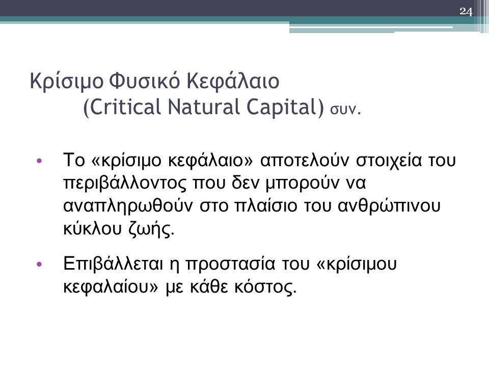 Κρίσιμο Φυσικό Κεφάλαιο (Critical Natural Capital) συν.