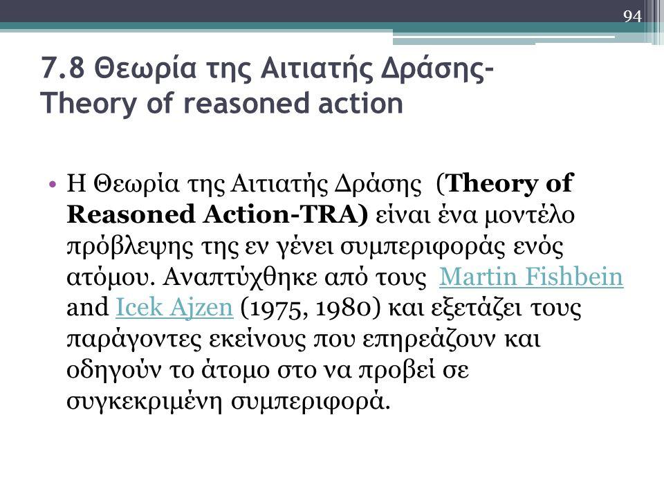 7.8 Θεωρία της Αιτιατής Δράσης- Theory of reasoned action Η Θεωρία της Αιτιατής Δράσης (Τheory of Reasoned Action-ΤRA) είναι ένα μοντέλο πρόβλεψης της εν γένει συμπεριφοράς ενός ατόμου.
