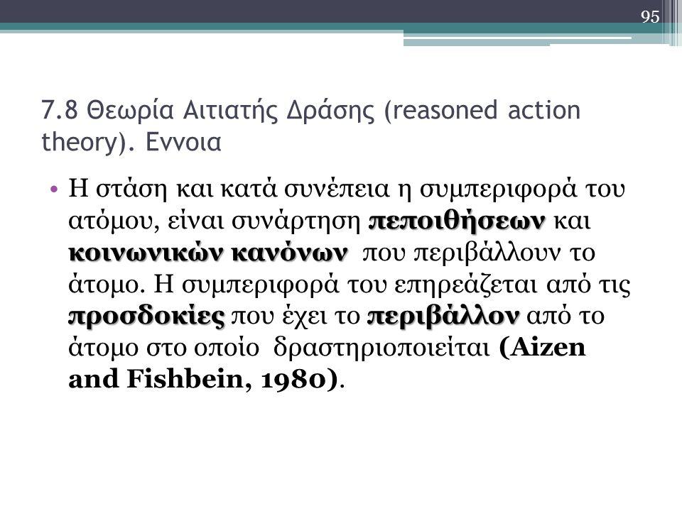 7.8 Θεωρία Αιτιατής Δράσης (reasoned action theory).