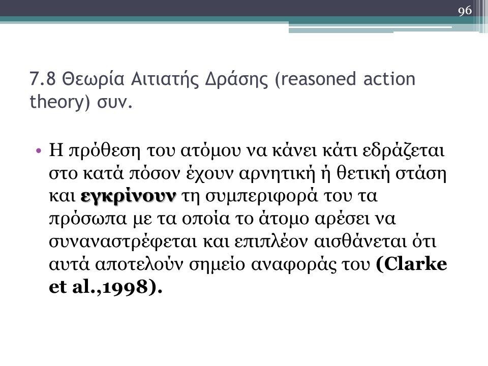 7.8 Θεωρία Αιτιατής Δράσης (reasoned action theory) συν.