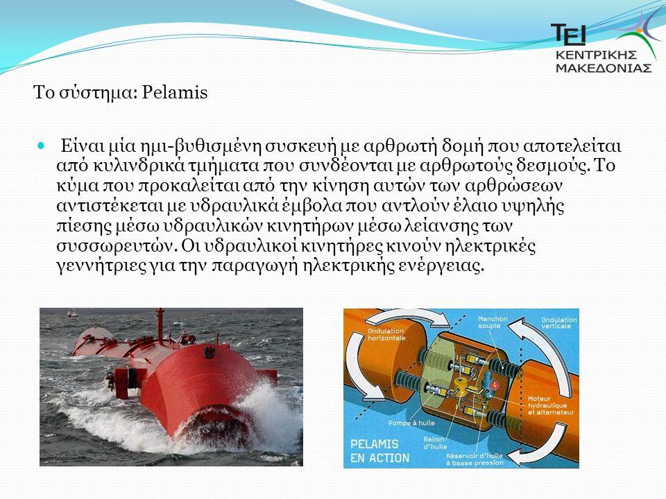 Tο σύστημα: Pelamis Είναι μία ημι-βυθισμένη συσκευή με αρθρωτή δομή που αποτελείται από κυλινδρικά τμήματα που συνδέονται με αρθρωτούς δεσμούς.