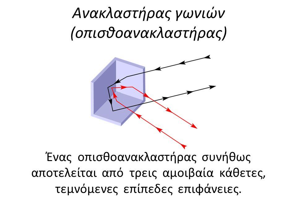 Ανακλαστήρας γωνιών (οπισθοανακλαστήρας) Ένας οπισθοανακλαστήρας συνήθως αποτελείται από τρεις αμοιβαία κάθετες, τεμνόμενες επίπεδες επιφάνειες.
