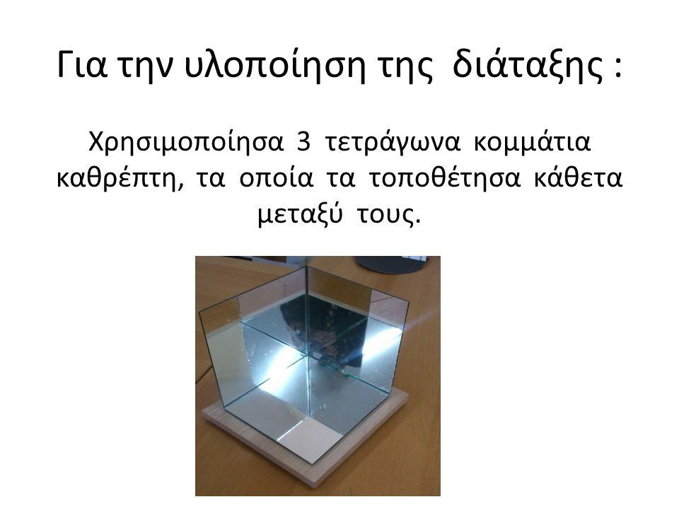 Για την υλοποίηση της διάταξης : Χρησιμοποίησα 3 τετράγωνα κομμάτια καθρέπτη, τα οποία τα τοποθέτησα κάθετα μεταξύ τους.