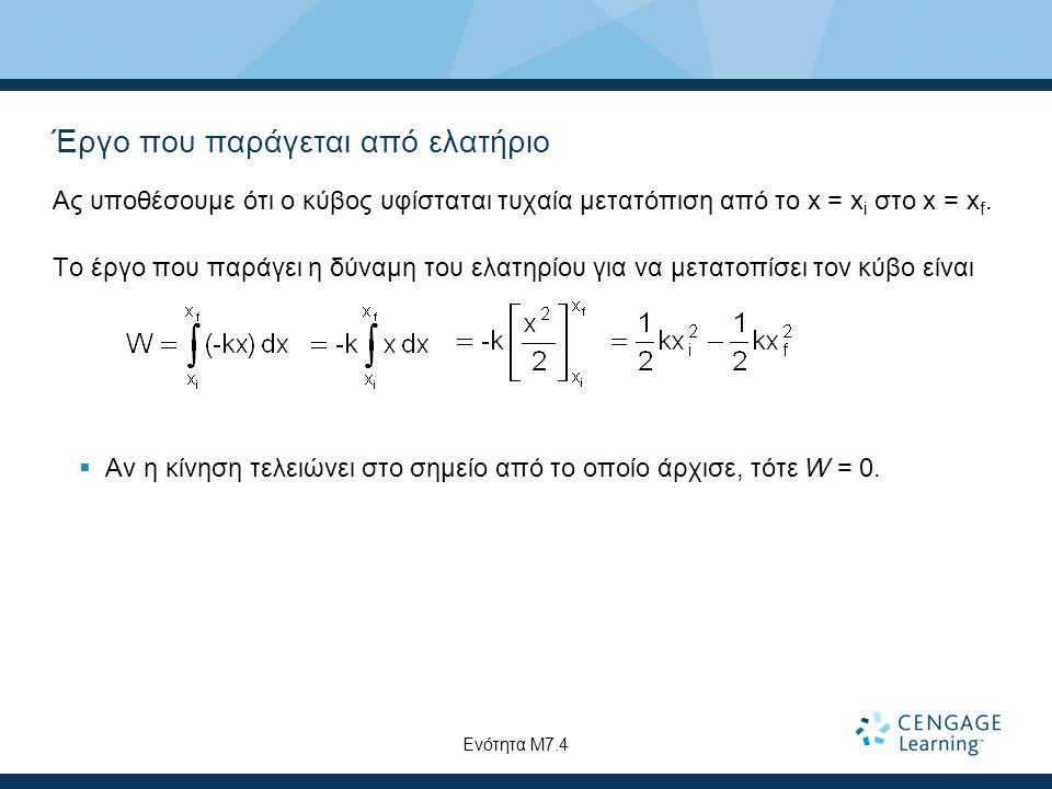 Έργο που παράγεται από ελατήριο Ας υποθέσουμε ότι ο κύβος υφίσταται τυχαία μετατόπιση από το x = x i στο x = x f.