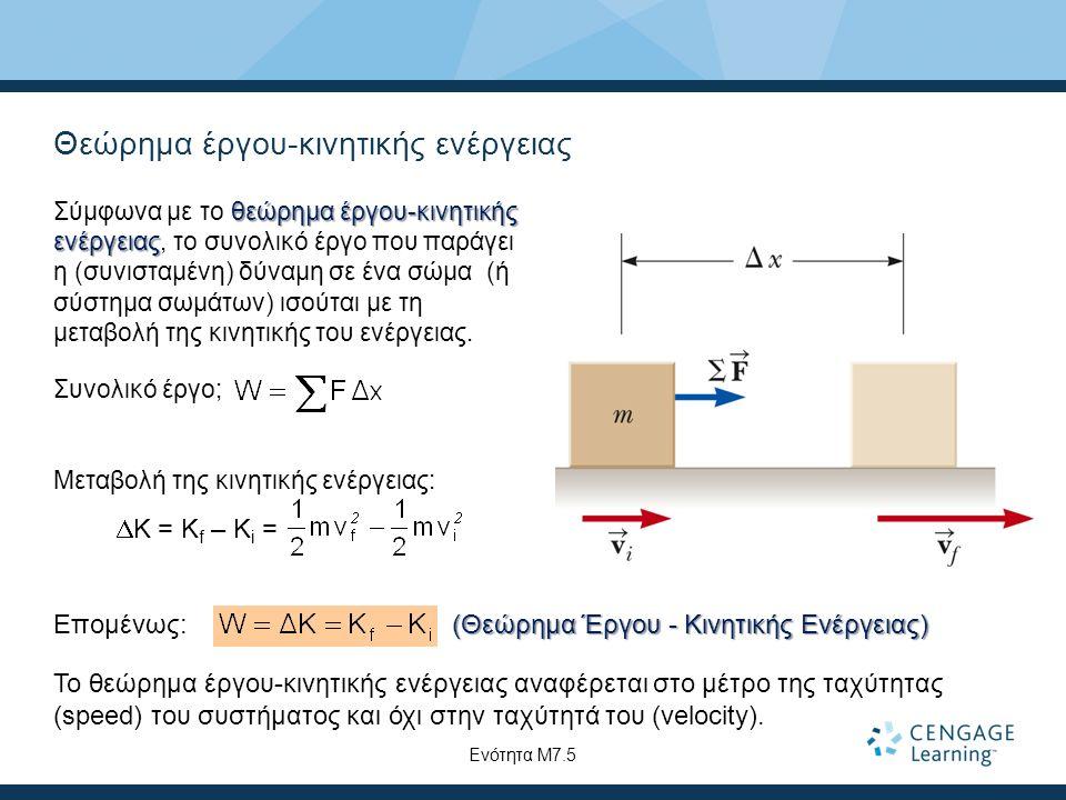 Θεώρημα έργου-κινητικής ενέργειας θεώρημα έργου-κινητικής ενέργειας Σύμφωνα με το θεώρημα έργου-κινητικής ενέργειας, το συνολικό έργο που παράγει η (συνισταμένη) δύναμη σε ένα σώμα (ή σύστημα σωμάτων) ισούται με τη μεταβολή της κινητικής του ενέργειας.