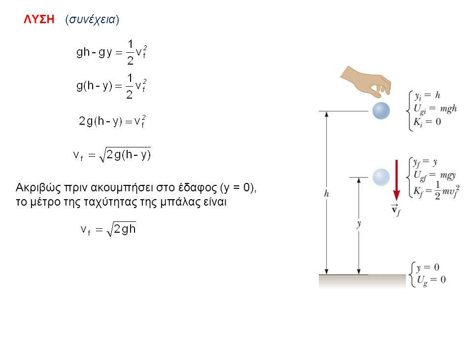ΛΥΣΗ (συνέχεια) Ακριβώς πριν ακουμπήσει στο έδαφος (y = 0), το μέτρο της ταχύτητας της μπάλας είναι