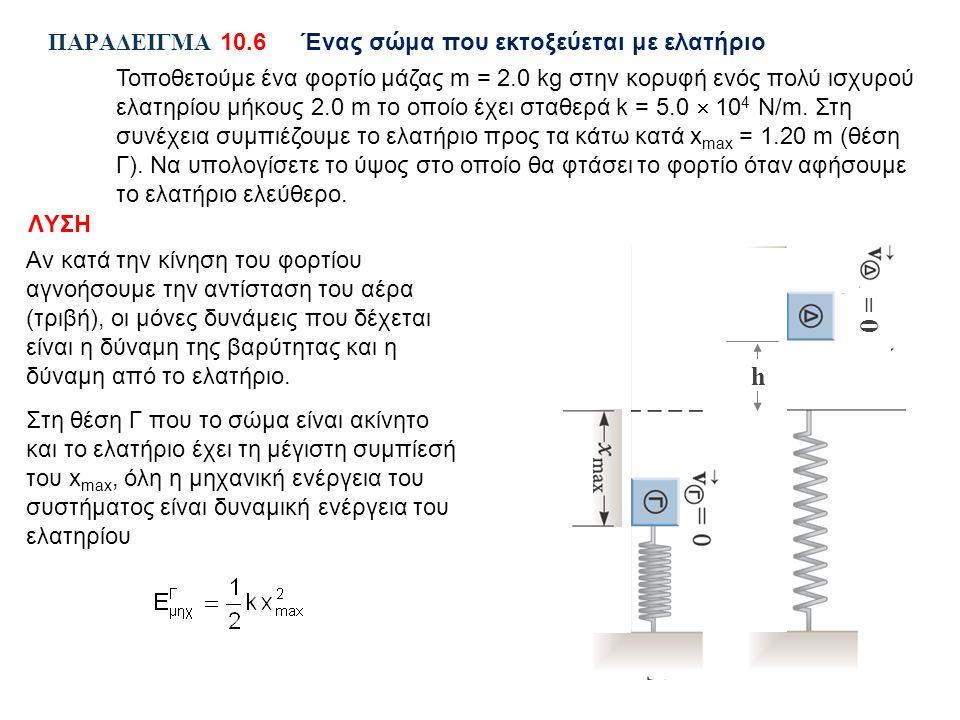 ΠΑΡΑΔΕΙΓΜΑ 10.6Ένας σώμα που εκτοξεύεται με ελατήριο Τοποθετούμε ένα φορτίο μάζας m = 2.0 kg στην κορυφή ενός πολύ ισχυρού ελατηρίου μήκους 2.0 m το οποίο έχει σταθερά k = 5.0  10 4 N/m.