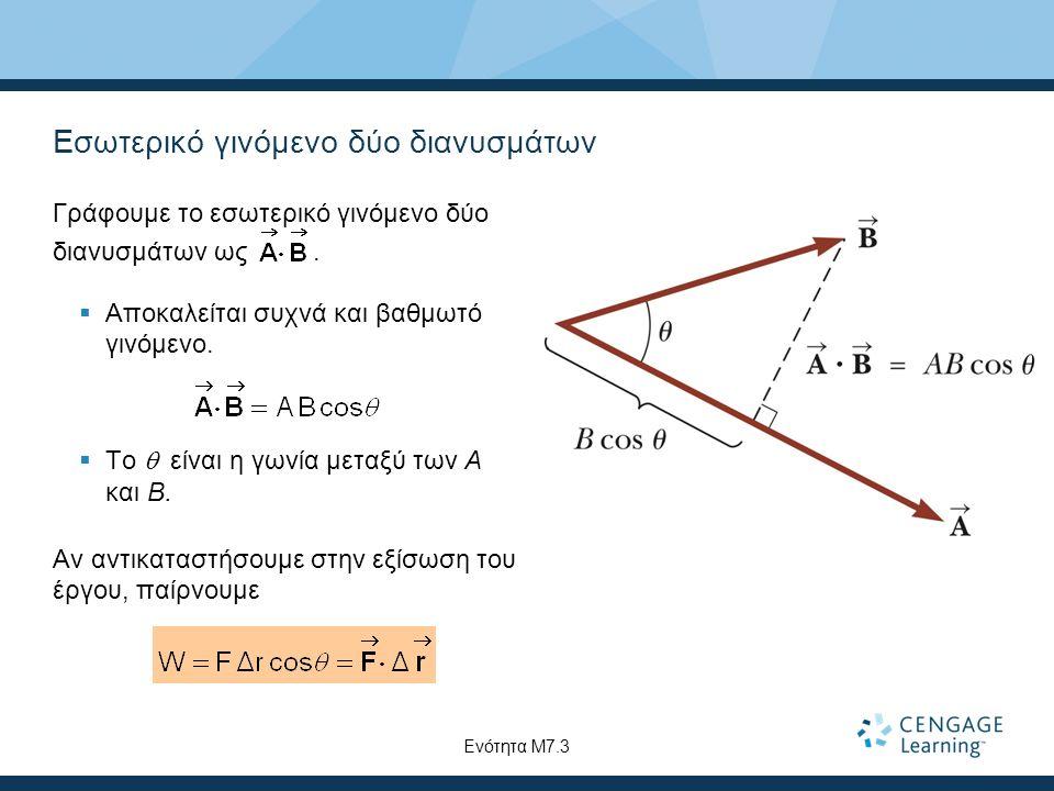 Εσωτερικό γινόμενο δύο διανυσμάτων Γράφουμε το εσωτερικό γινόμενο δύο διανυσμάτων ως.