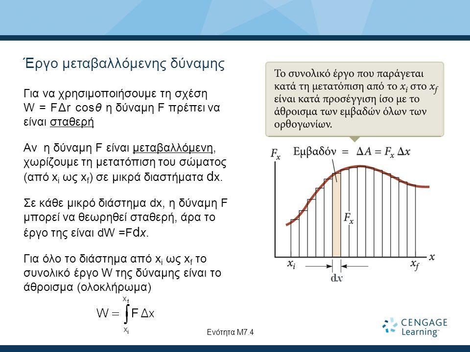 Έργο μεταβαλλόμενης δύναμης Για να χρησιμοποιήσουμε τη σχέση W = FΔr cosθ η δύναμη F πρέπει να είναι σταθερή Αν η δύναμη F είναι μεταβαλλόμενη, χωρίζουμε τη μετατόπιση του σώματος (από x i ως x f ) σε μικρά διαστήματα d x.