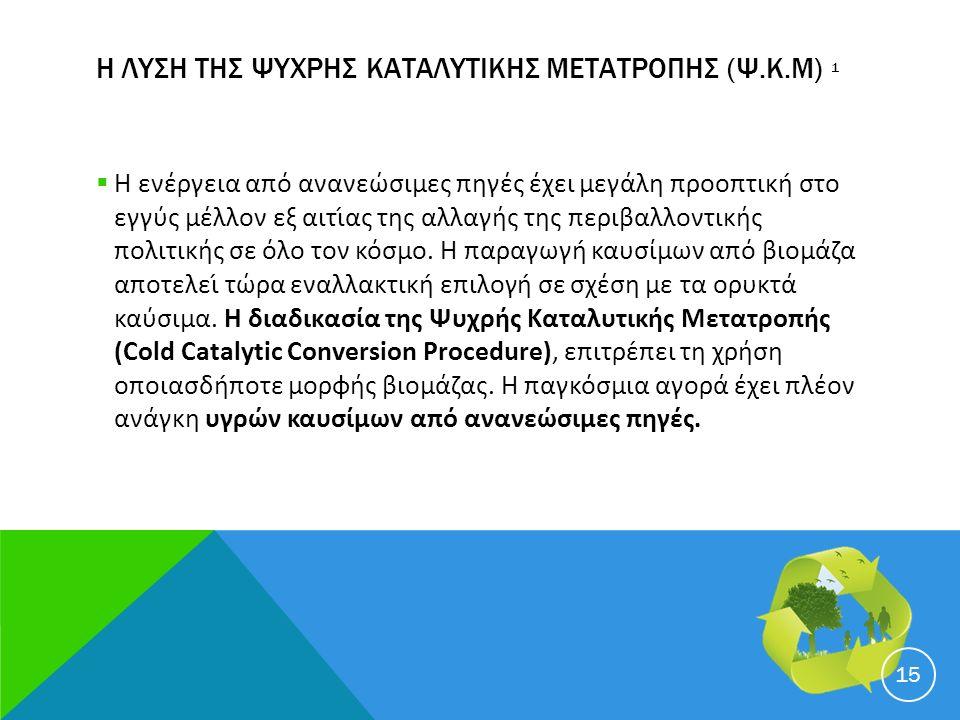 Η ΛΥΣΗ ΤΗΣ ΨΥΧΡΗΣ ΚΑΤΑΛΥΤΙΚΗΣ ΜΕΤΑΤΡΟΠΗΣ (Ψ.Κ.Μ) 1  Η ενέργεια από ανανεώσιμες πηγές έχει μεγάλη προοπτική στο εγγύς μέλλον εξ αιτίας της αλλαγής της περιβαλλοντικής πολιτικής σε όλο τον κόσμο.