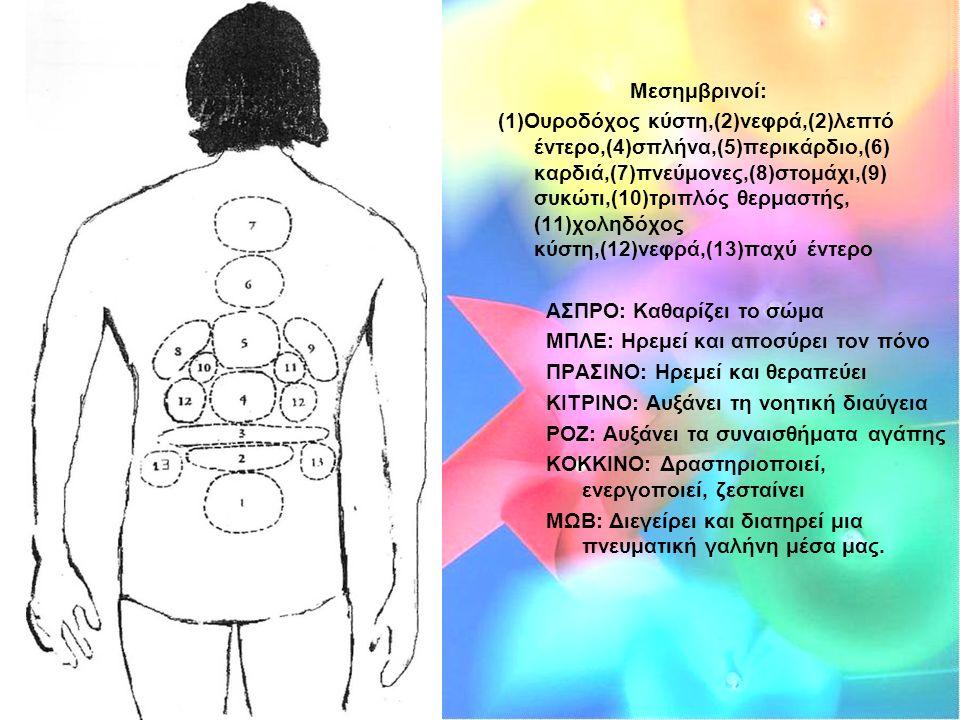Μεσημβρινοί: (1)Ουροδόχος κύστη,(2)νεφρά,(2)λεπτό έντερο,(4)σπλήνα,(5)περικάρδιο,(6) καρδιά,(7)πνεύμονες,(8)στομάχι,(9) συκώτι,(10)τριπλός θερμαστής, (11)χοληδόχος κύστη,(12)νεφρά,(13)παχύ έντερο ΑΣΠΡΟ: Καθαρίζει το σώμα ΜΠΛΕ: Ηρεμεί και αποσύρει τον πόνο ΠΡΑΣΙΝΟ: Ηρεμεί και θεραπεύει ΚΙΤΡΙΝΟ: Αυξάνει τη νοητική διαύγεια ΡΟΖ: Αυξάνει τα συναισθήματα αγάπης ΚΟΚΚΙΝΟ: Δραστηριοποιεί, ενεργοποιεί, ζεσταίνει ΜΩΒ: Διεγείρει και διατηρεί μια πνευματική γαλήνη μέσα μας.