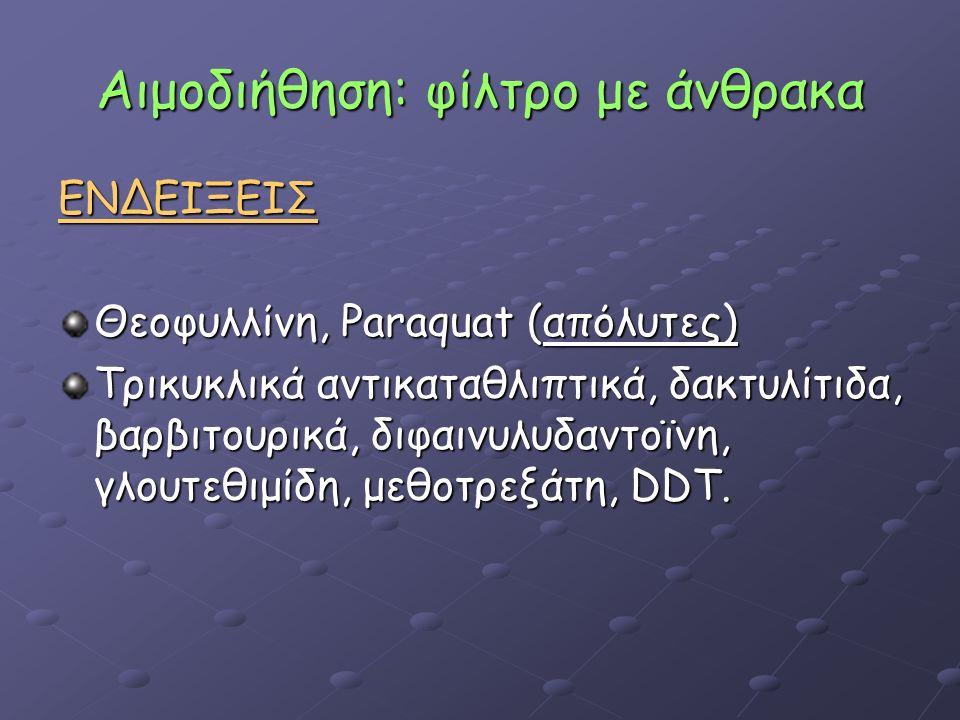 Αιμοδιήθηση: φίλτρο με άνθρακα ΕΝΔΕΙΞΕΙΣ Θεοφυλλίνη, Paraquat (απόλυτες) Τρικυκλικά αντικαταθλιπτικά, δακτυλίτιδα, βαρβιτουρικά, διφαινυλυδαντοϊνη, γλουτεθιμίδη, μεθοτρεξάτη, DDT.
