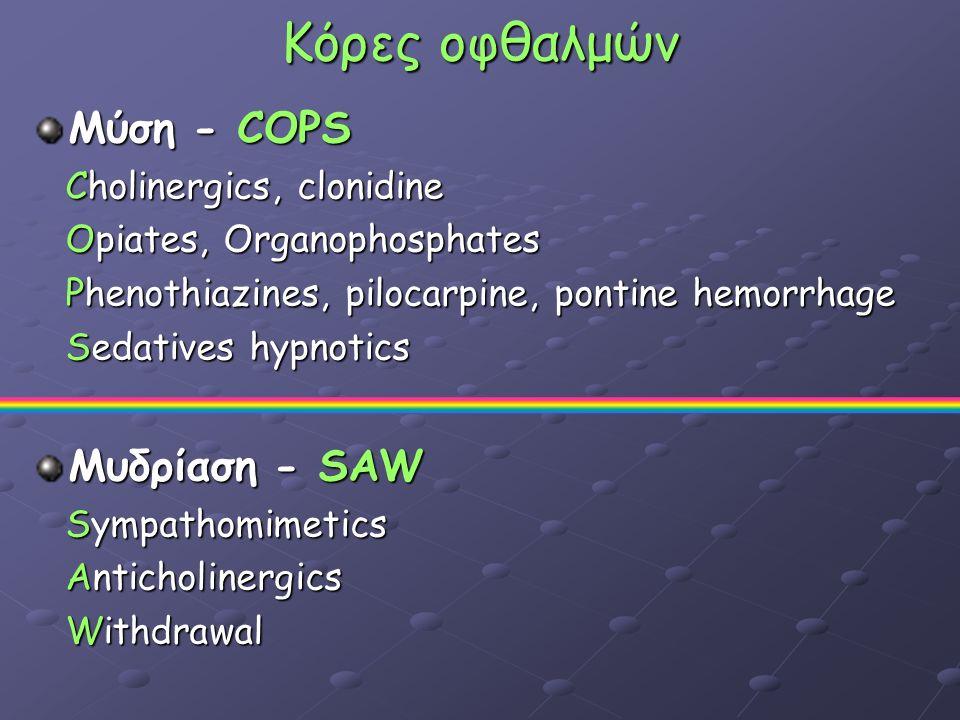 Κόρες οφθαλμών Μύση - COPS Cholinergics, clonidine Cholinergics, clonidine Opiates, Organophosphates Opiates, Organophosphates Phenothiazines, pilocarpine, pontine hemorrhage Phenothiazines, pilocarpine, pontine hemorrhage Sedatives hypnotics Sedatives hypnotics Μυδρίαση - SAW Sympathomimetics Sympathomimetics Anticholinergics Anticholinergics Withdrawal Withdrawal