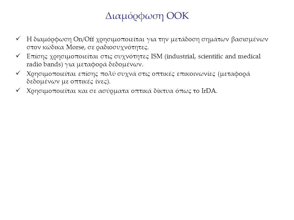 Διαμόρφωση OOK Η διαμόρφωση Οn/Off χρησιμοποιείται για την μετάδοση σημάτων βασισμένων στον κώδικα Morse, σε ραδιοσυχνότητες. Επίσης χρησιμοποιείται σ