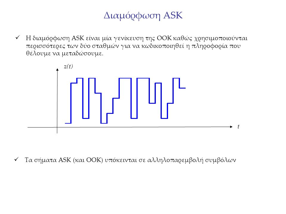 Διαμόρφωση ASK Η διαμόρφωση ASK είναι μία γενίκευση της OOK καθώς χρησιμοποιούνται περισσότερες των δύο σταθμών για να κωδικοποιηθεί η πληροφορία που θέλουμε να μεταδώσουμε.