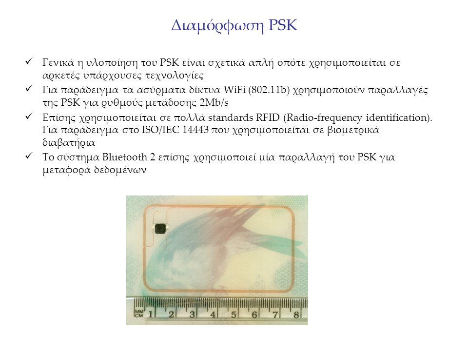 Διαμόρφωση PSK Γενικά η υλοποίηση του PSK είναι σχετικά απλή οπότε χρησιμοποιείται σε αρκετές υπάρχουσες τεχνολογίες Για παράδειγμα τα ασύρματα δίκτυα WiFi (802.11b) χρησιμοποιούν παραλλαγές της PSK για ρυθμούς μετάδοσης 2Μb/s Επίσης χρησιμοποιείται σε πολλά standards RFID (Radio-frequency identification).