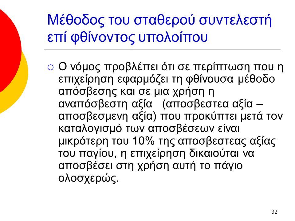 32 Μέθοδος του σταθερού συντελεστή επί φθίνοντος υπολοίπου  Ο νόμος προβλέπει ότι σε περίπτωση που η επιχείρηση εφαρμόζει τη φθίνουσα μέθοδο απόσβεσης και σε μια χρήση η αναπόσβεστη αξία (αποσβεστεα αξία – αποσβεσμενη αξία) που προκύπτει μετά τον καταλογισμό των αποσβέσεων είναι μικρότερη του 10% της αποσβεστεας αξίας του παγίου, η επιχείρηση δικαιούται να αποσβέσει στη χρήση αυτή το πάγιο ολοσχερώς.
