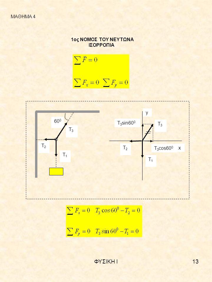 ΦΥΣΙΚΗ Ι13 ΜΑΘΗΜΑ 4 1ος ΝΟΜΟΣ ΤΟΥ ΝΕΥΤΩΝΑ ΙΣΟΡΡΟΠΙΑ 60 0 Τ1Τ1 Τ3Τ3 Τ2Τ2 Τ3Τ3 Τ1Τ1 Τ2Τ2 Τ 3 cos60 0 Τ 3 sin60 0 x y