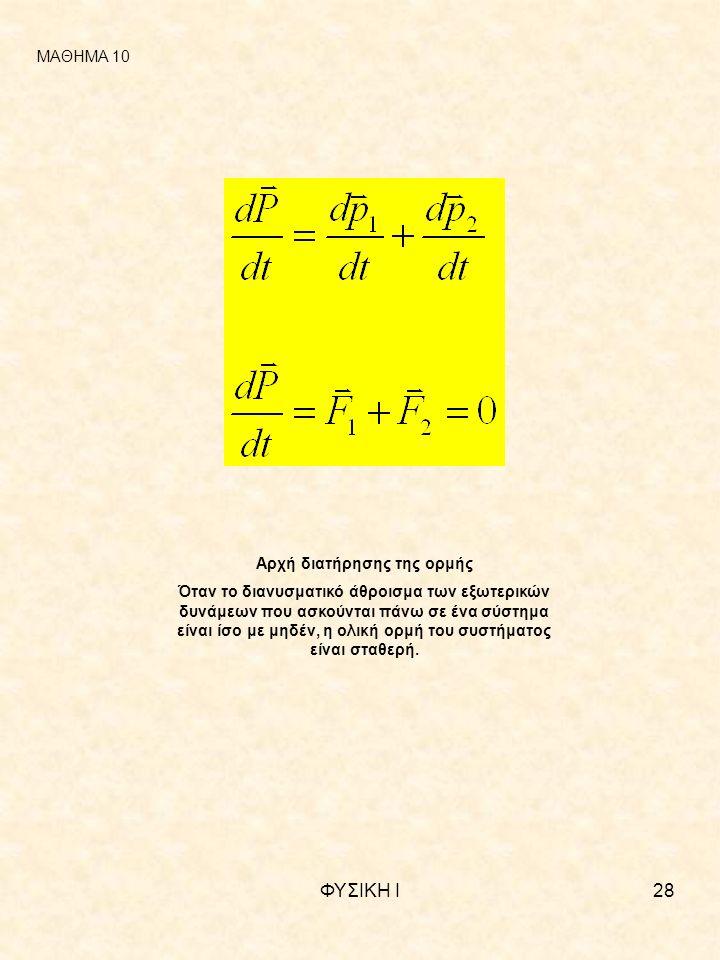 ΦΥΣΙΚΗ Ι28 ΜΑΘΗΜΑ 10 Αρχή διατήρησης της ορμής Όταν το διανυσματικό άθροισμα των εξωτερικών δυνάμεων που ασκούνται πάνω σε ένα σύστημα είναι ίσο με μηδέν, η ολική ορμή του συστήματος είναι σταθερή.
