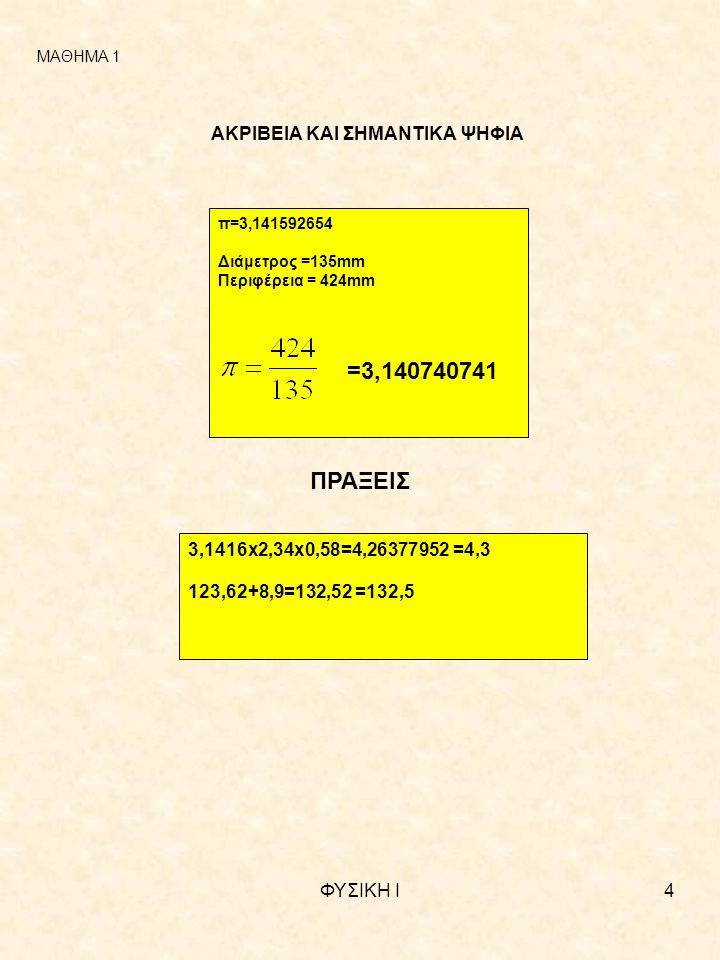 ΦΥΣΙΚΗ Ι4 ΑΚΡΙΒΕΙΑ ΚΑΙ ΣΗΜΑΝΤΙΚΑ ΨΗΦΙΑ π=3,141592654 Διάμετρος =135mm Περιφέρεια = 424mm =3,140740741 ΠΡΑΞΕΙΣ 3,1416x2,34x0,58=4,26377952 =4,3 123,62+8,9=132,52 =132,5 ΜΑΘΗΜΑ 1