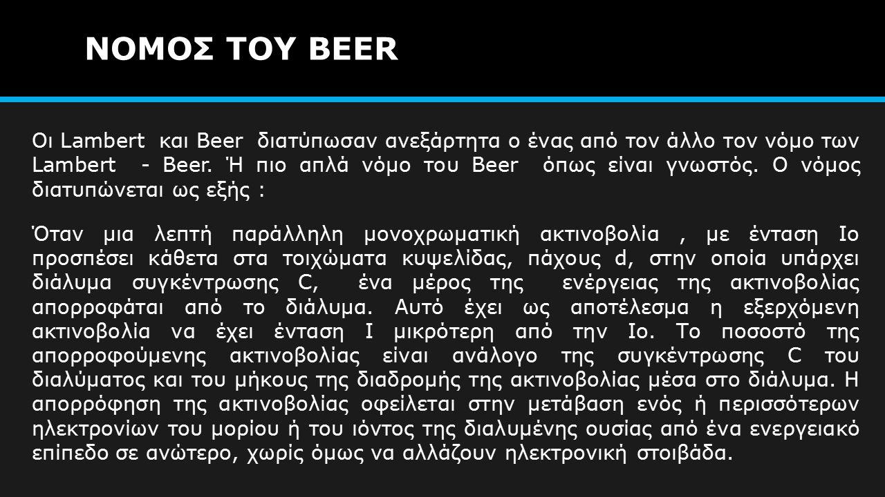 ΝΟΜΟΣ ΤΟΥ BEER Οι Lambert και Beer διατύπωσαν ανεξάρτητα ο ένας από τον άλλο τον νόμο των Lambert - Beer.