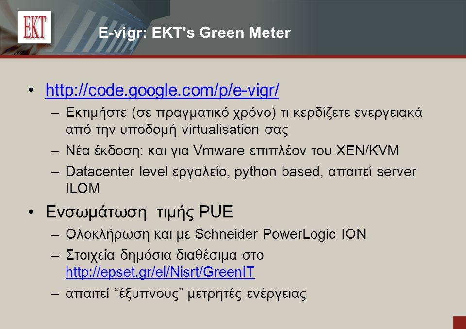 E-vigr: EKT s Green Meter http://code.google.com/p/e-vigr/ – Εκτιμήστε (σε πραγματικό χρόνο) τι κερδίζετε ενεργειακά από την υποδομή virtualisation σας – Νέα έκδοση: και για Vmware επιπλέον του XEN/KVM – Datacenter level εργαλείο, python based, απαιτεί server ILOM Ενσωμάτωση τιμής PUE – Ολοκλήρωση και με Schneider PowerLogic ΙΟΝ – Στοιχεία δημόσια διαθέσιμα στο http://epset.gr/el/Nisrt/GreenIT http://epset.gr/el/Nisrt/GreenIT – απαιτεί έξυπνους μετρητές ενέργειας