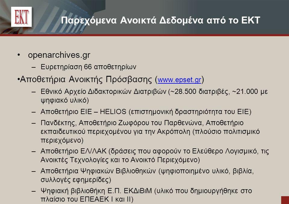 Παρεχόμενα Ανοικτά Δεδομένα από το EKT openarchives.gr – Ευρετηρίαση 66 αποθετηρίων Αποθετήρια Ανοικτής Πρόσβασης ( www.epset.gr ) www.epset.gr –Εθνικό Αρχείο Διδακτορικών Διατριβών (~28.500 διατριβές, ~21.000 με ψηφιακό υλικό) –Αποθετήριο ΕΙΕ – HELIOS (επιστημονική δραστηριότητα του ΕΙΕ) – Πανδέκτης, Αποθετήριο Ζωφόρου του Παρθενώνα, Αποθετήριο εκπαιδευτικού περιεχομένου για την Ακρόπολη (πλούσιο πολιτισμικό περιεχόμενο) – Αποθετήριο ΕΛ/ΛΑΚ (δράσεις που αφορούν το Ελεύθερο Λογισμικό, τις Ανοικτές Τεχνολογίες και το Ανοικτό Περιεχόμενο) – Αποθετήρια Ψηφιακών Βιβλιοθηκών (ψηφιοποιημένο υλικό, βιβλία, συλλογές εφημερίδες) – Ψηφιακή βιβλιοθήκη Ε.Π.