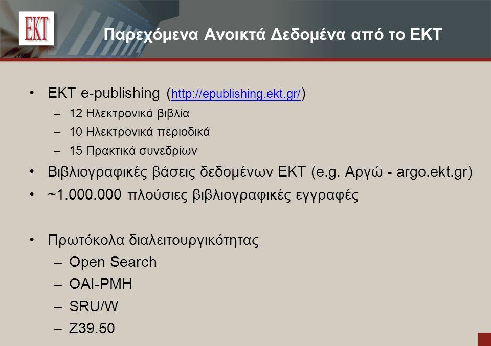 Παρεχόμενα Ανοικτά Δεδομένα από το EKT EKT e-publishing ( http://epublishing.ekt.gr/ ) http://epublishing.ekt.gr/ – 12 Ηλεκτρονικά βιβλία – 10 Ηλεκτρονικά περιοδικά – 15 Πρακτικά συνεδρίων Βιβλιογραφικές βάσεις δεδομένων ΕΚΤ (e.g.