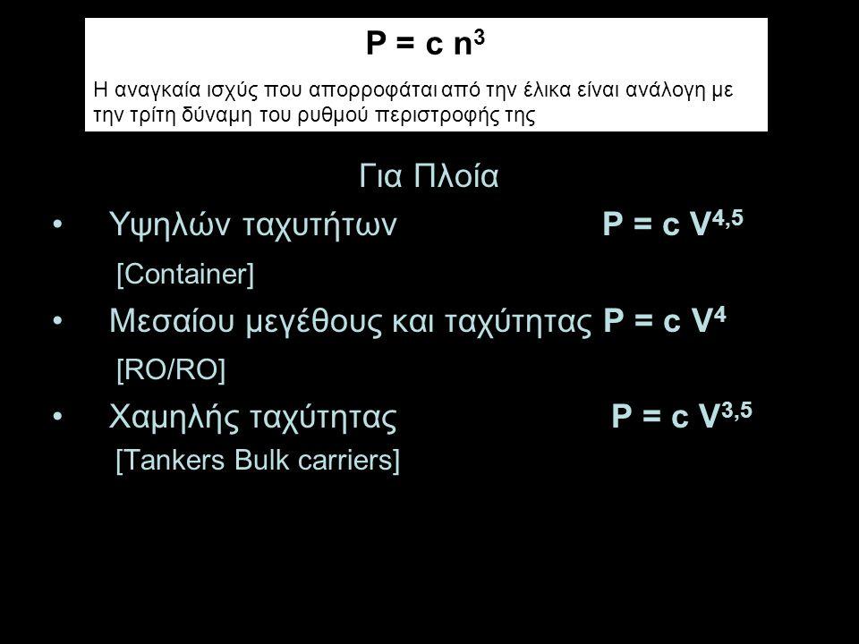 Για Πλοία Υψηλών ταχυτήτων P = c V 4,5 [Container] Μεσαίου μεγέθους και ταχύτητας P = c V 4 [RO/RO] Χαμηλής ταχύτητας P = c V 3,5 [Tankers Bulk carriers] P = c n 3 Η αναγκαία ισχύς που απορροφάται από την έλικα είναι ανάλογη με την τρίτη δύναμη του ρυθμού περιστροφής της
