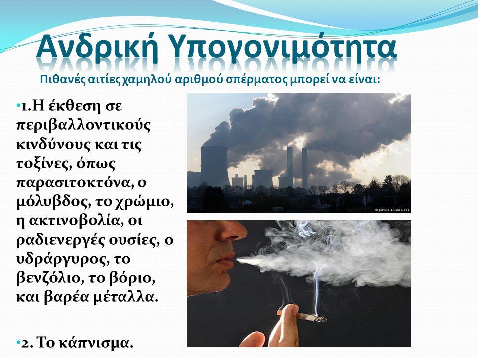 1.Η έκθεση σε περιβαλλοντικούς κινδύνους και τις τοξίνες, όπως παρασιτοκτόνα, ο μόλυβδος, το χρώμιο, η ακτινοβολία, οι ραδιενεργές ουσίες, ο υδράργυρο