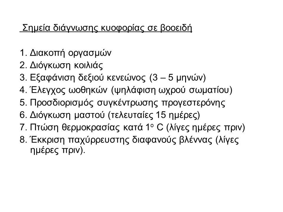 Σημεία διάγνωσης κυοφορίας σε βοοειδή 1. Διακοπή οργασμών 2. Διόγκωση κοιλιάς 3. Εξαφάνιση δεξιού κενεώνος (3 – 5 μηνών) 4. Έλεγχος ωοθηκών (ψηλάφιση