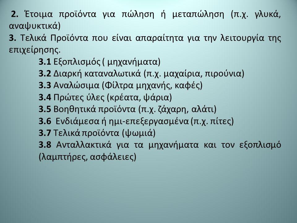 2. Έτοιμα προϊόντα για πώληση ή μεταπώληση (π.χ. γλυκά, αναψυκτικά) 3.