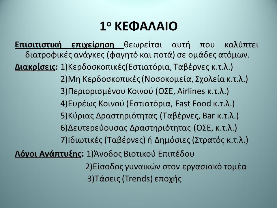 1 ο ΚΕΦΑΛΑΙΟ Επισιτιστική επιχείρηση θεωρείται αυτή που καλύπτει διατροφικές ανάγκες (φαγητό και ποτά) σε ομάδες ατόμων.