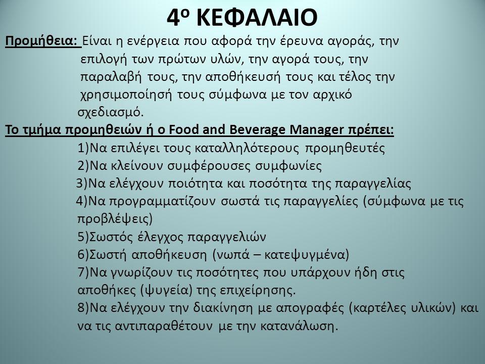 ΚΑΤΗΓΟΡΙΕΣ ΕΞΟΔΩΝ (ΔΑΠΑΝΩΝ) 1.Κόστος ποτών και τροφίμων.