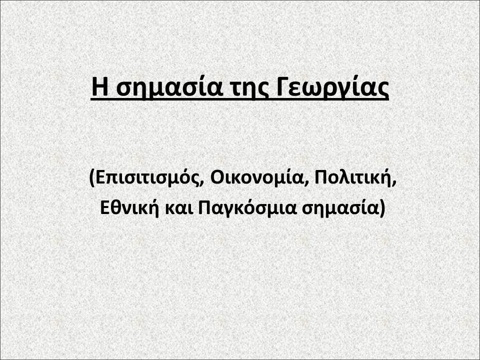 Η σημασία της Γεωργίας (Επισιτισμός, Οικονομία, Πολιτική, Εθνική και Παγκόσμια σημασία)