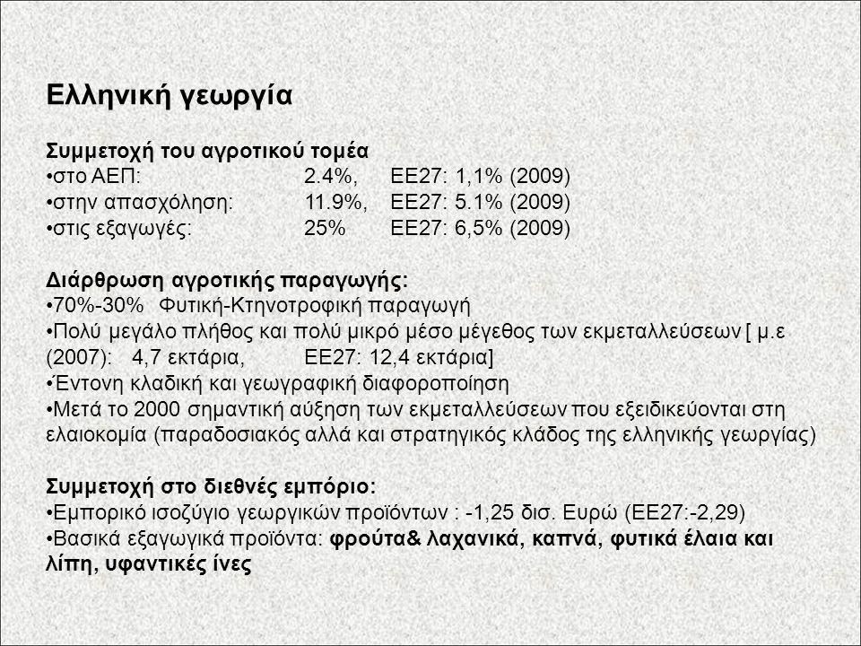 Ελληνική γεωργία Συμμετοχή του αγροτικού τομέα στο ΑΕΠ: 2.4%, ΕΕ27: 1,1% (2009) στην απασχόληση: 11.9%,ΕΕ27: 5.1% (2009) στις εξαγωγές: 25%ΕΕ27: 6,5% (2009) Διάρθρωση αγροτικής παραγωγής: 70%-30% Φυτική-Κτηνοτροφική παραγωγή Πολύ μεγάλο πλήθος και πολύ μικρό μέσο μέγεθος των εκμεταλλεύσεων [ μ.ε (2007): 4,7 εκτάρια, ΕΕ27: 12,4 εκτάρια] Έντονη κλαδική και γεωγραφική διαφοροποίηση Μετά το 2000 σημαντική αύξηση των εκμεταλλεύσεων που εξειδικεύονται στη ελαιοκομία (παραδοσιακός αλλά και στρατηγικός κλάδος της ελληνικής γεωργίας) Συμμετοχή στο διεθνές εμπόριο: Εμπορικό ισοζύγιο γεωργικών προϊόντων : -1,25 δισ.