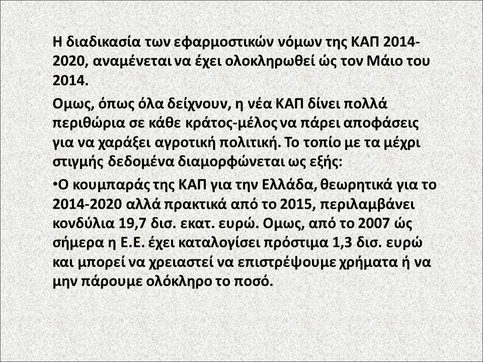Η διαδικασία των εφαρμοστικών νόμων της ΚΑΠ 2014- 2020, αναμένεται να έχει ολοκληρωθεί ώς τον Μάιο του 2014. Ομως, όπως όλα δείχνουν, η νέα ΚΑΠ δίνει