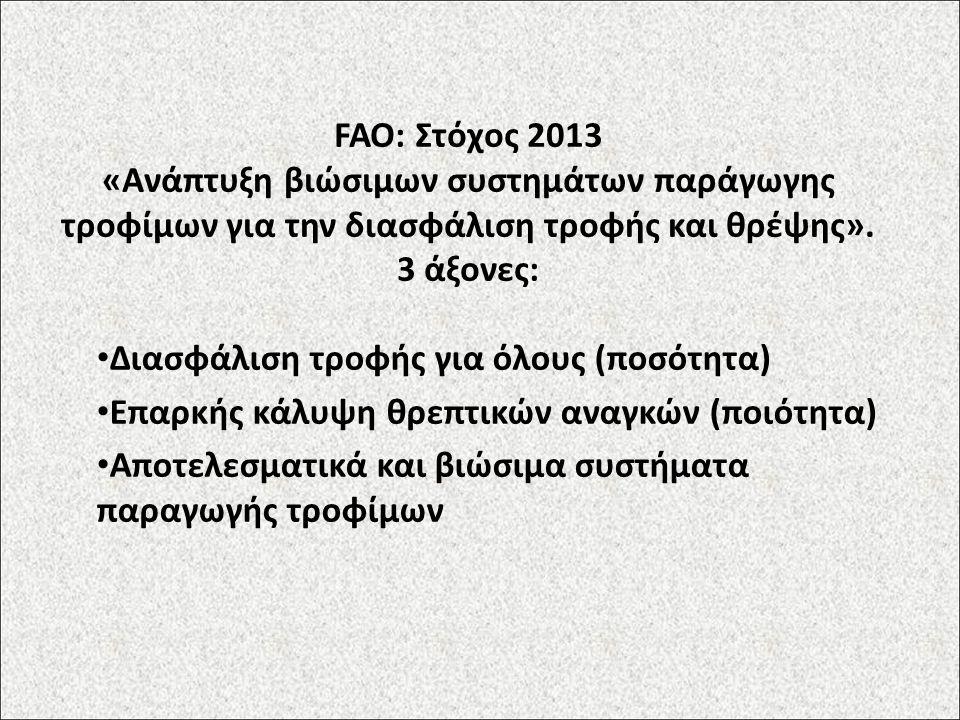 FAO: Στόχος 2013 «Ανάπτυξη βιώσιμων συστημάτων παράγωγης τροφίμων για την διασφάλιση τροφής και θρέψης». 3 άξονες: Διασφάλιση τροφής για όλους (ποσότη