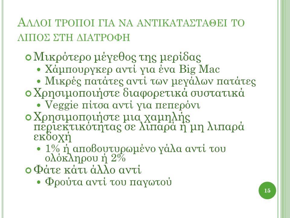 Α ΛΛΟΙ ΤΡΟΠΟΙ ΓΙΑ ΝΑ ΑΝΤΙΚΑΤΑΣΤΑΘΕΙ ΤΟ ΛΙΠΟΣ ΣΤΗ ΔΙΑΤΡΟΦΗ Μικρότερο μέγεθος της μερίδας Χάμπουργκερ αντί για ένα Big Mac Μικρές πατάτες αντί των μεγάλ
