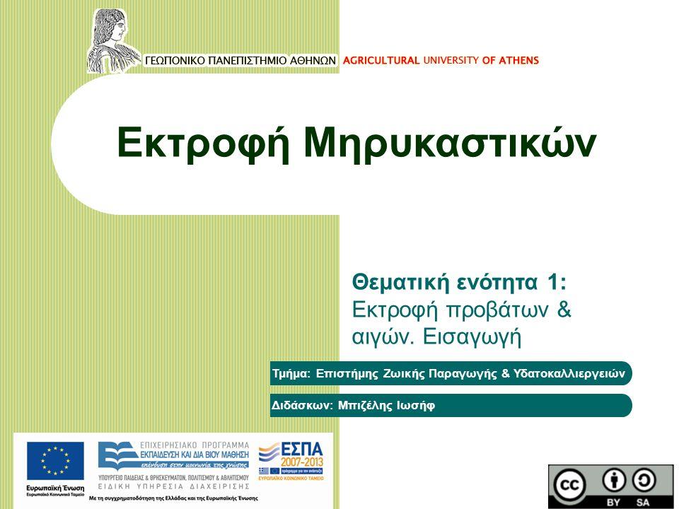 Εκτροφή Μηρυκαστικών Θεματική ενότητα 1: Εκτροφή προβάτων & αιγών. Εισαγωγή Τμήμα: Επιστήμης Ζωικής Παραγωγής & Υδατοκαλλιεργειών Διδάσκων: Μπιζέλης Ι