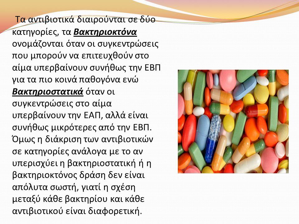 Τα αντιβιοτικά διαιρούνται σε δύο κατηγορίες, τα Βακτηριοκτόνα ονομάζονται όταν οι συγκεντρώσεις που μπορούν να επιτευχθούν στο αίμα υπερβαίνουν συνήθ