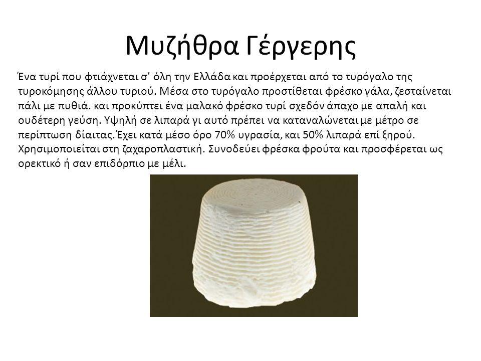 Μυζήθρα Γέργερης Ένα τυρί που φτιάχνεται σ' όλη την Ελλάδα και προέρχεται από το τυρόγαλο της τυροκόμησης άλλου τυριού.